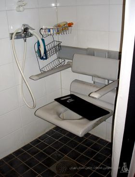 Wall-mounted-shower-stool-with-armrest